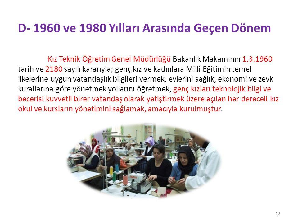 D- 1960 ve 1980 Yılları Arasında Geçen Dönem