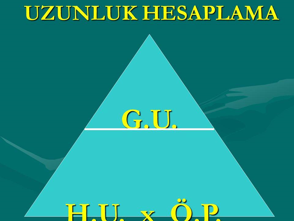 UZUNLUK HESAPLAMA G.U. H.U. x Ö.P.