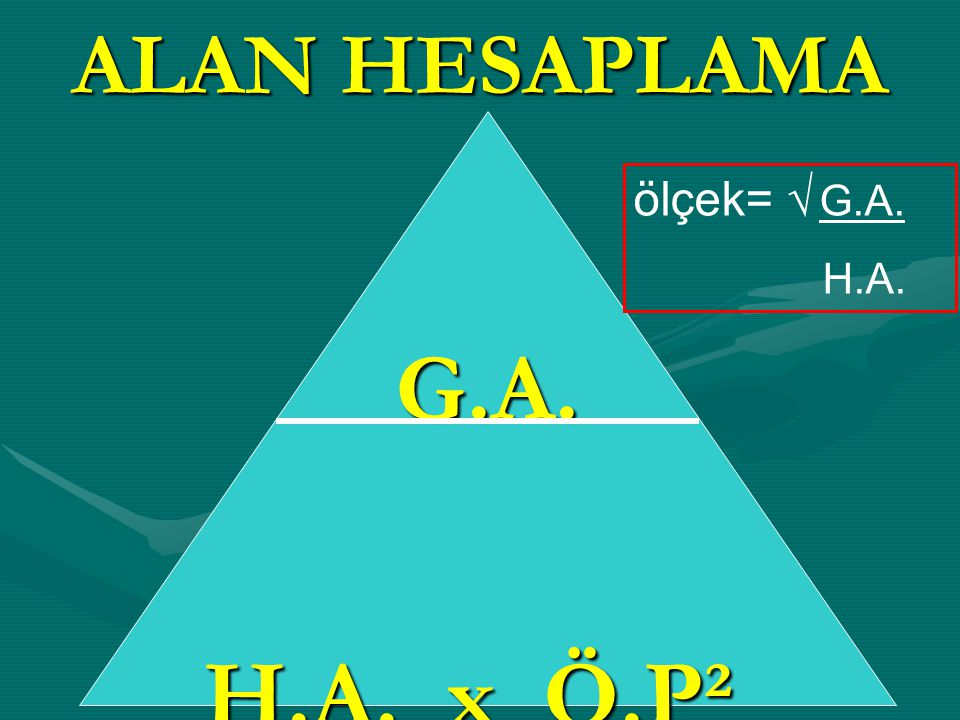 ALAN HESAPLAMA G.A. H.A. x Ö.P² ölçek= √ G.A. H.A.