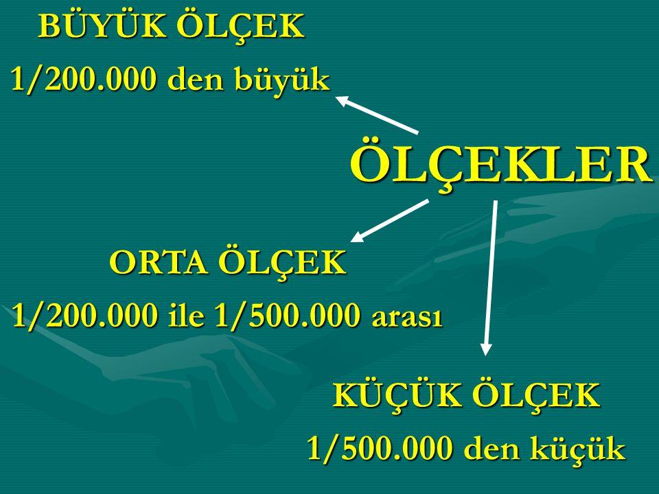 ÖLÇEKLER BÜYÜK ÖLÇEK 1/200.000 den büyük ORTA ÖLÇEK