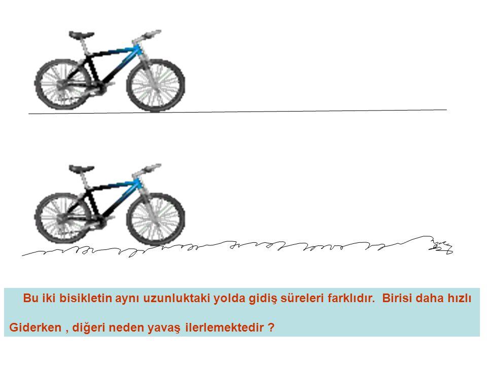 Bu iki bisikletin aynı uzunluktaki yolda gidiş süreleri farklıdır
