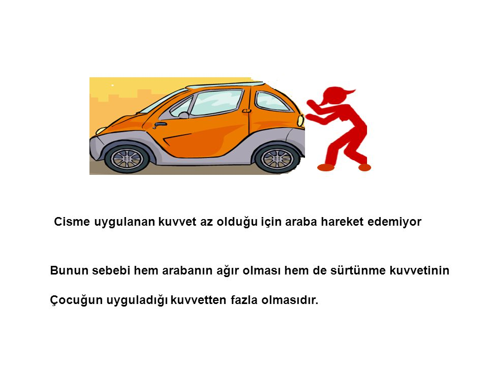 Cisme uygulanan kuvvet az olduğu için araba hareket edemiyor