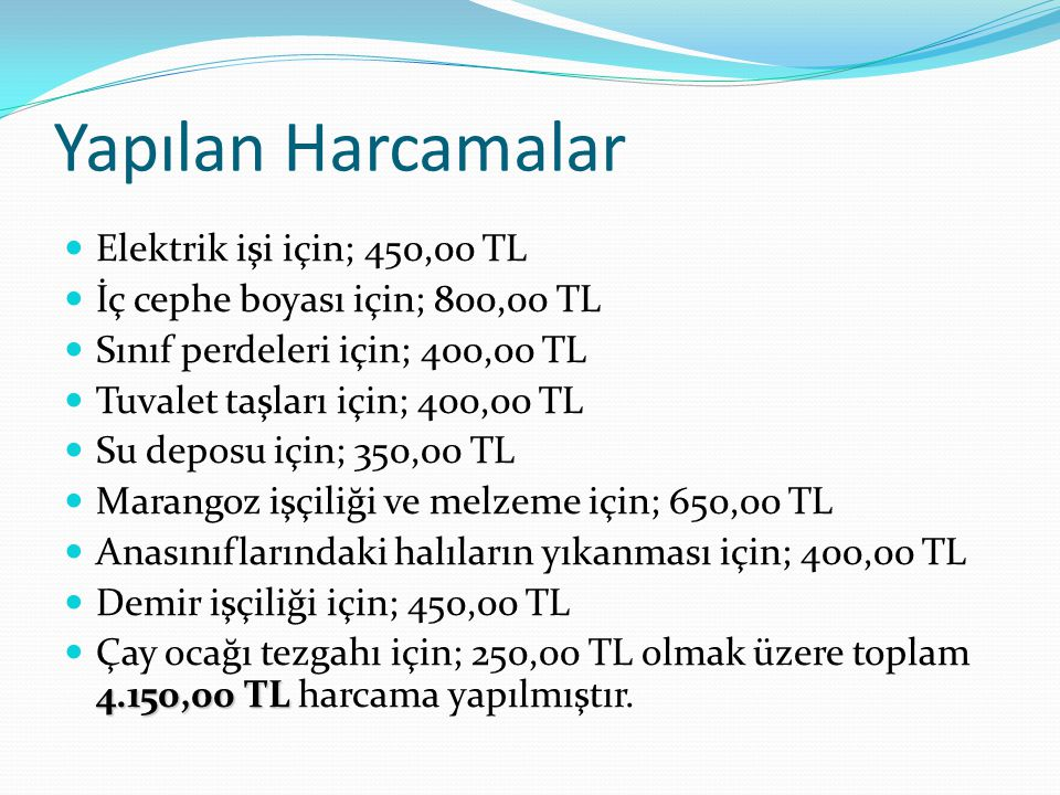 Yapılan Harcamalar Elektrik işi için; 450,00 TL