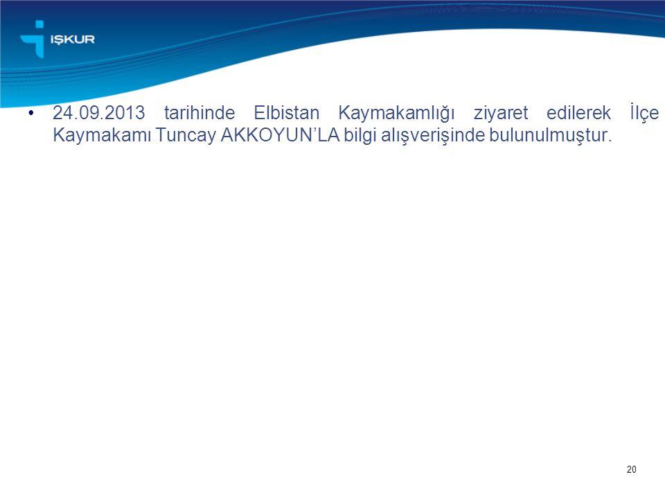 24.09.2013 tarihinde Elbistan Kaymakamlığı ziyaret edilerek İlçe Kaymakamı Tuncay AKKOYUN'LA bilgi alışverişinde bulunulmuştur.