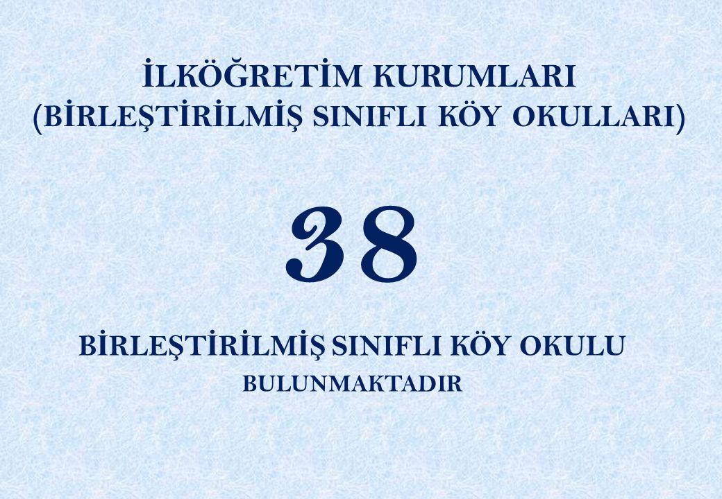 38 İLKÖĞRETİM KURUMLARI (BİRLEŞTİRİLMİŞ SINIFLI KÖY OKULLARI)