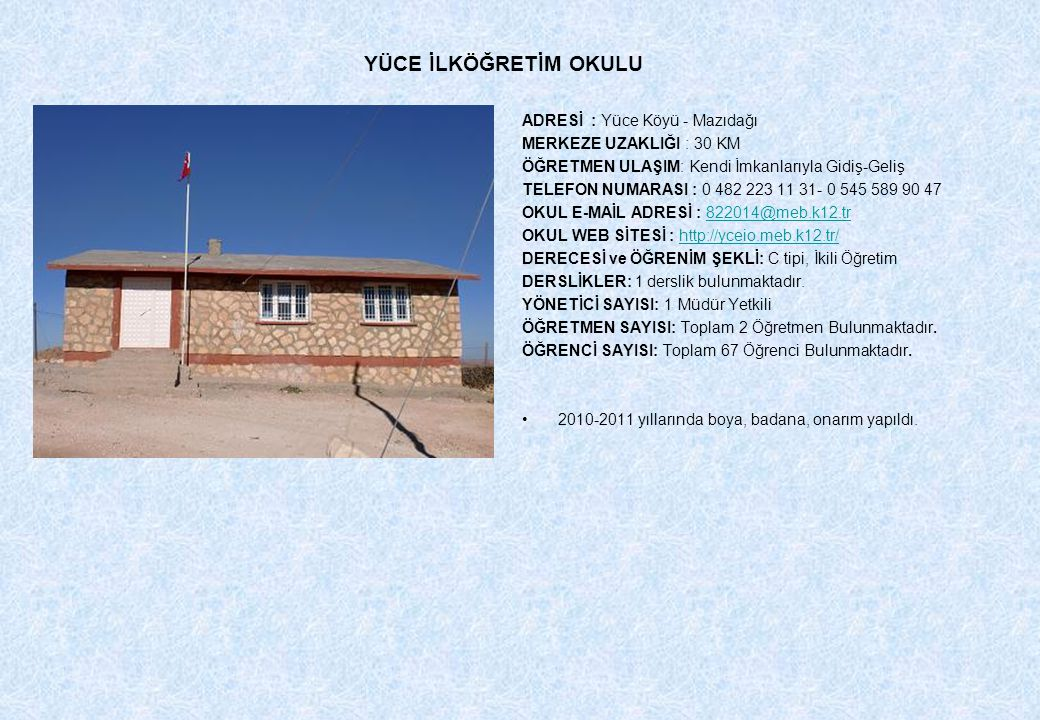 YÜCE İLKÖĞRETİM OKULU ADRESİ : Yüce Köyü - Mazıdağı