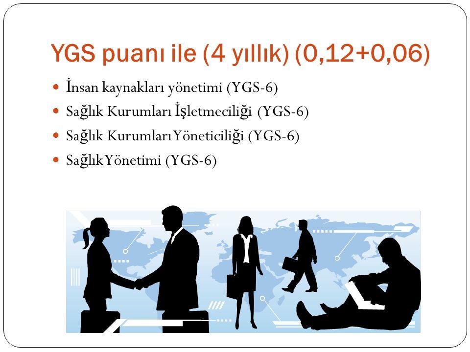 YGS puanı ile (4 yıllık) (0,12+0,06)