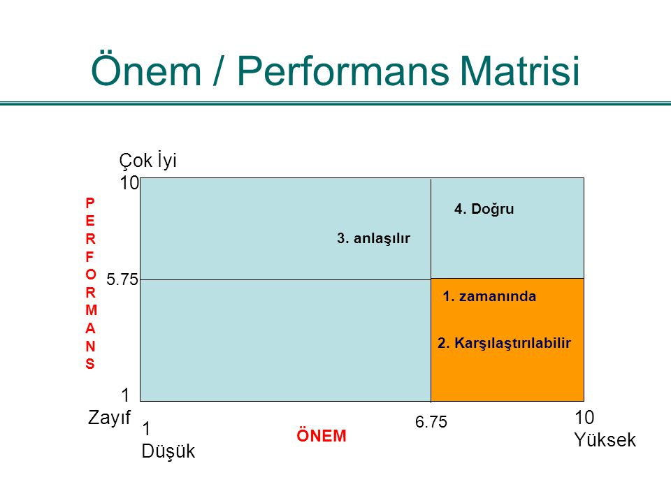 Önem / Performans Matrisi