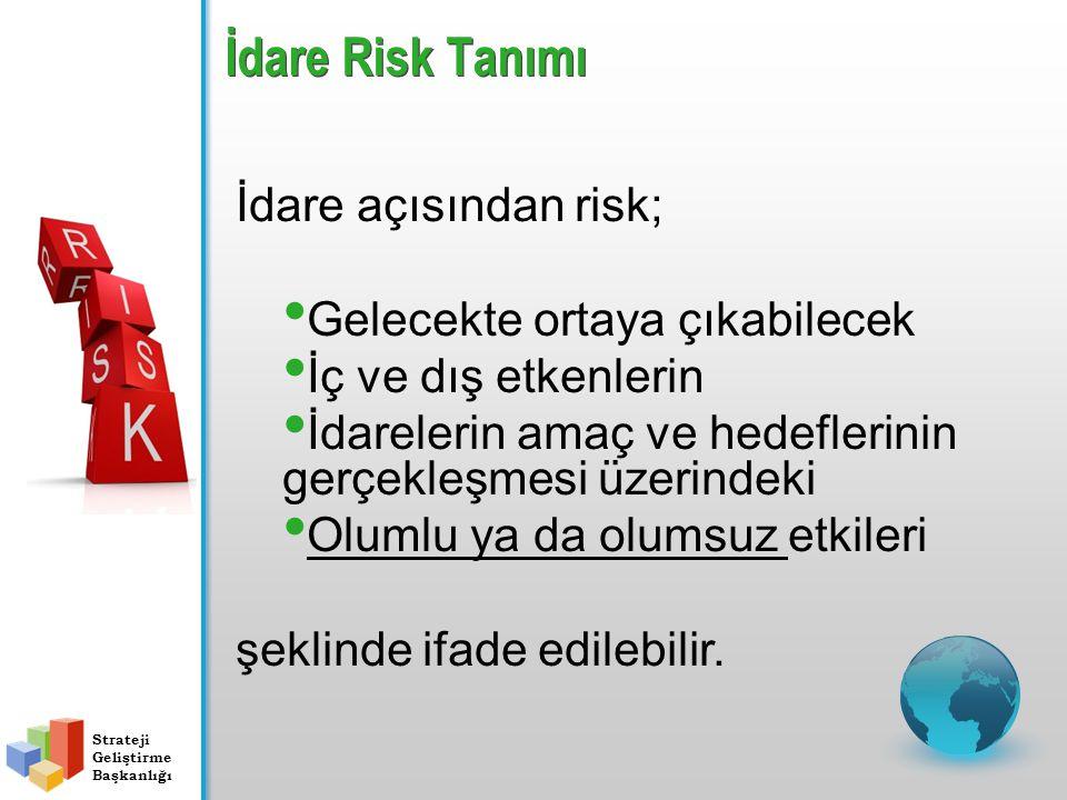 İdare Risk Tanımı İdare açısından risk; Gelecekte ortaya çıkabilecek