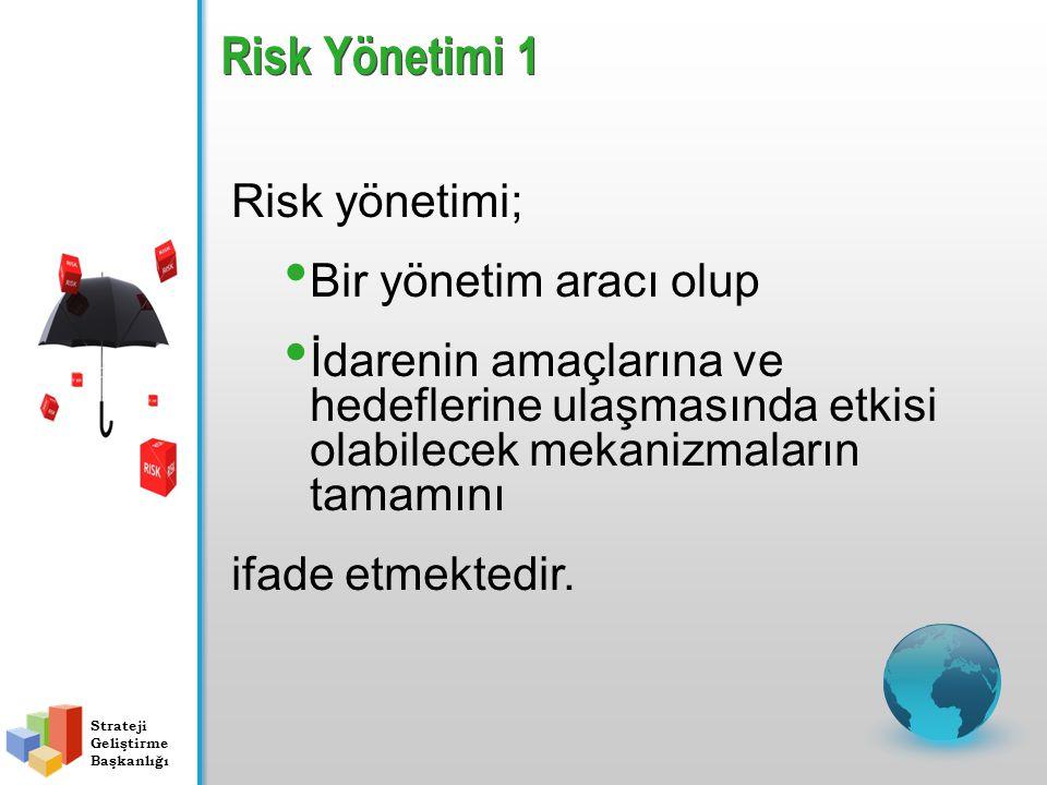 Risk Yönetimi 1 Risk yönetimi; Bir yönetim aracı olup