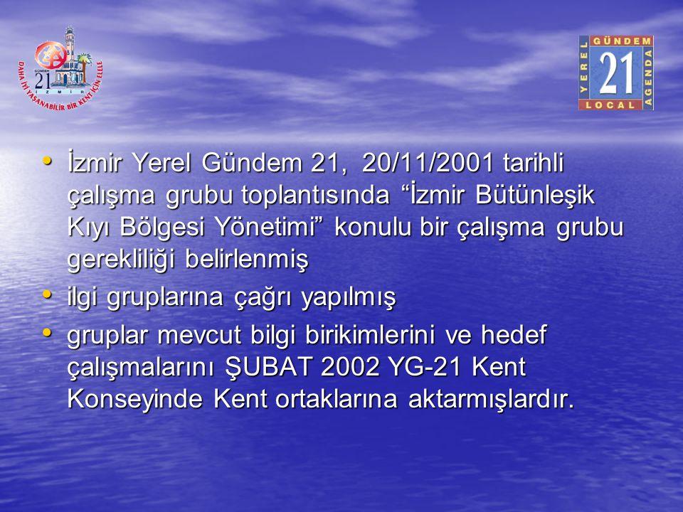 İzmir Yerel Gündem 21, 20/11/2001 tarihli çalışma grubu toplantısında İzmir Bütünleşik Kıyı Bölgesi Yönetimi konulu bir çalışma grubu gerekliliği belirlenmiş