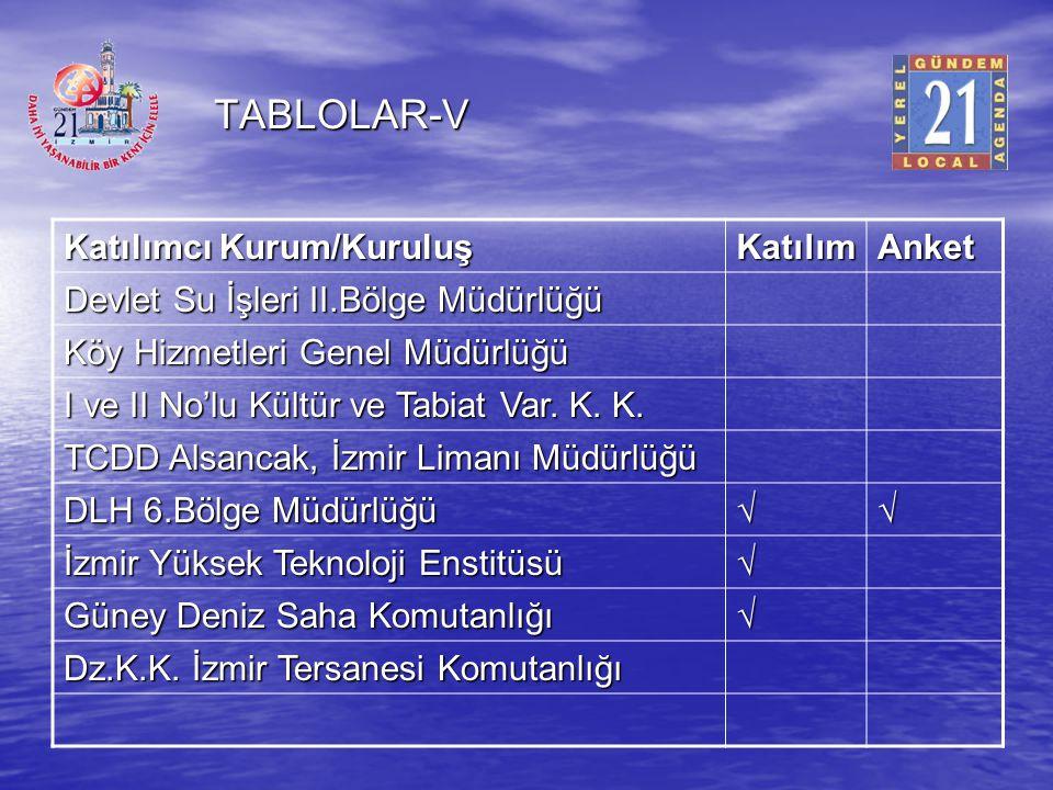 TABLOLAR-V Katılımcı Kurum/Kuruluş Katılım Anket