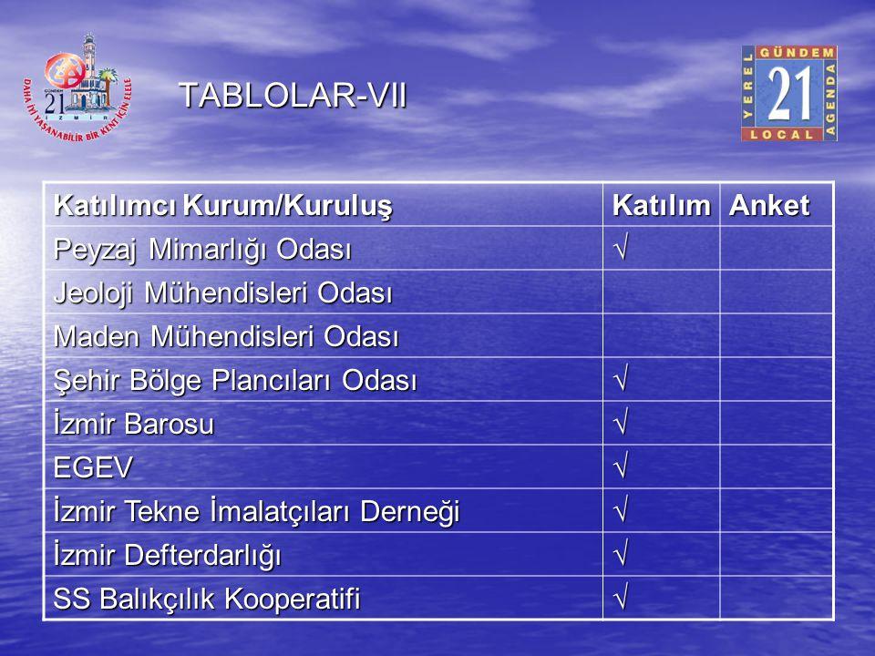 TABLOLAR-VII Katılımcı Kurum/Kuruluş Katılım Anket