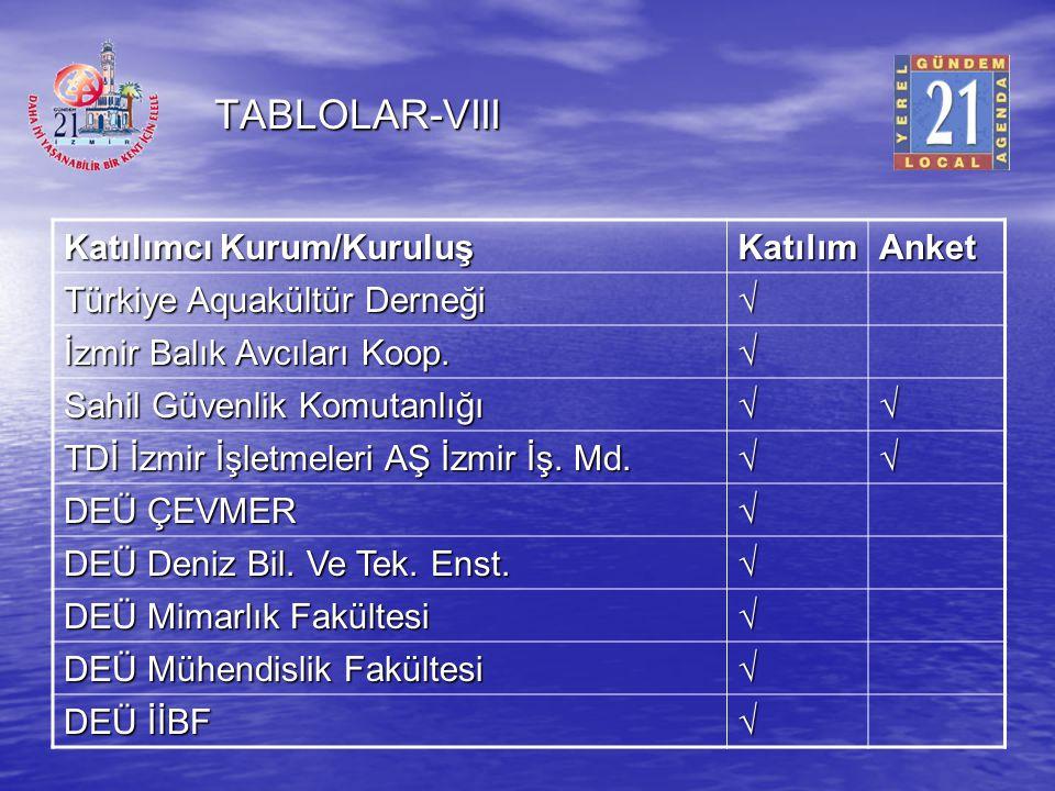 TABLOLAR-VIII Katılımcı Kurum/Kuruluş Katılım Anket