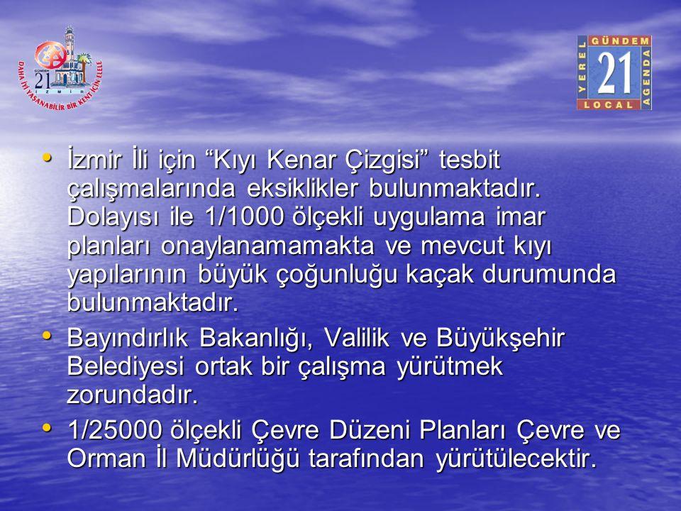 İzmir İli için Kıyı Kenar Çizgisi tesbit çalışmalarında eksiklikler bulunmaktadır. Dolayısı ile 1/1000 ölçekli uygulama imar planları onaylanamamakta ve mevcut kıyı yapılarının büyük çoğunluğu kaçak durumunda bulunmaktadır.