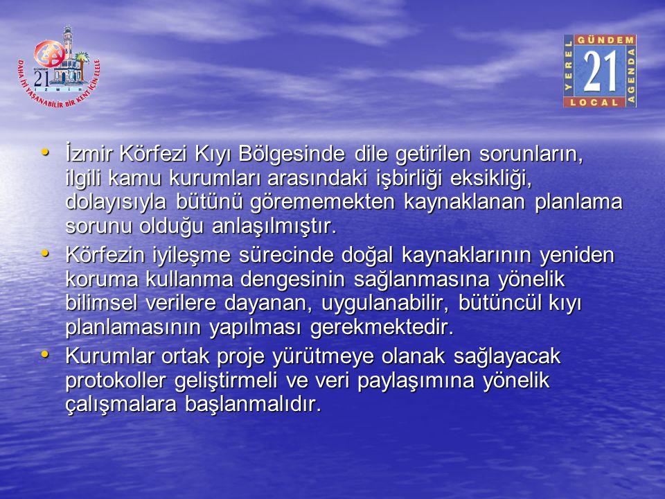 İzmir Körfezi Kıyı Bölgesinde dile getirilen sorunların, ilgili kamu kurumları arasındaki işbirliği eksikliği, dolayısıyla bütünü görememekten kaynaklanan planlama sorunu olduğu anlaşılmıştır.