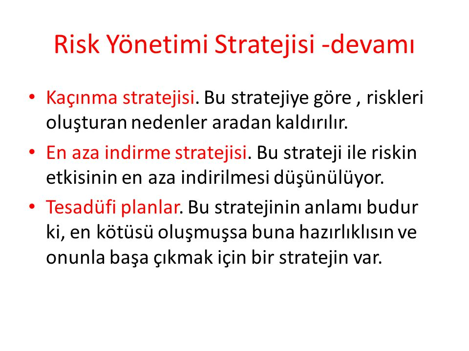 Risk Yönetimi Stratejisi -devamı