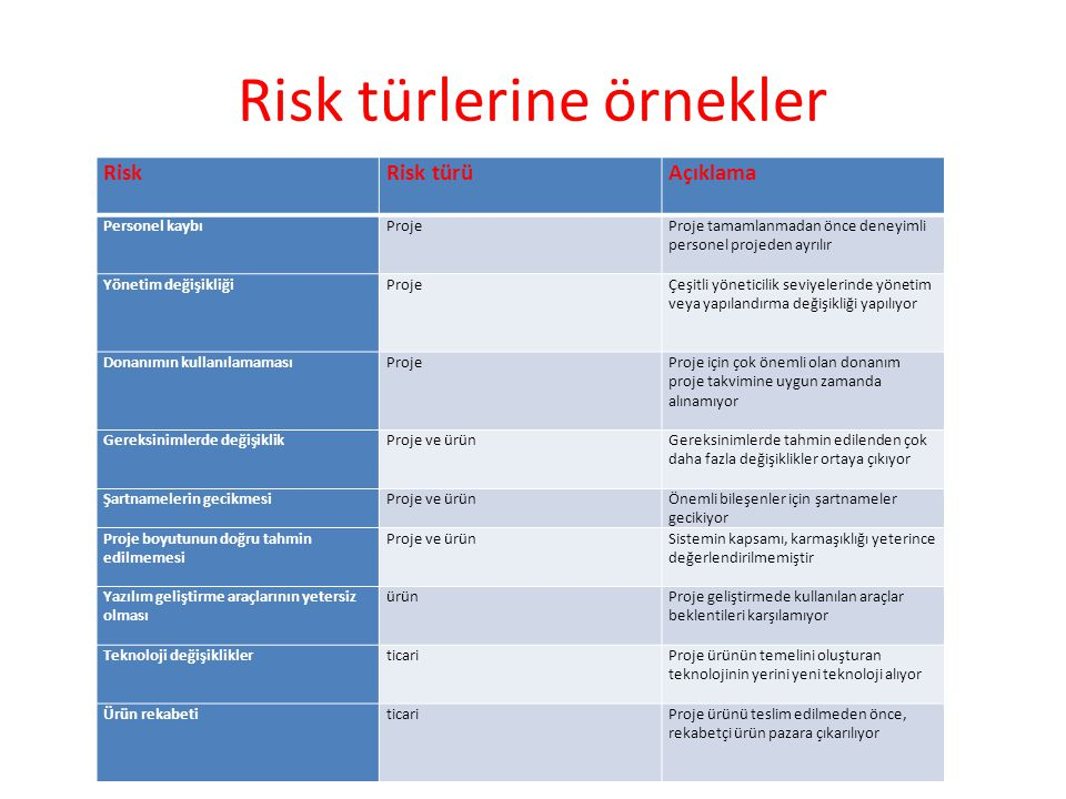 Risk türlerine örnekler