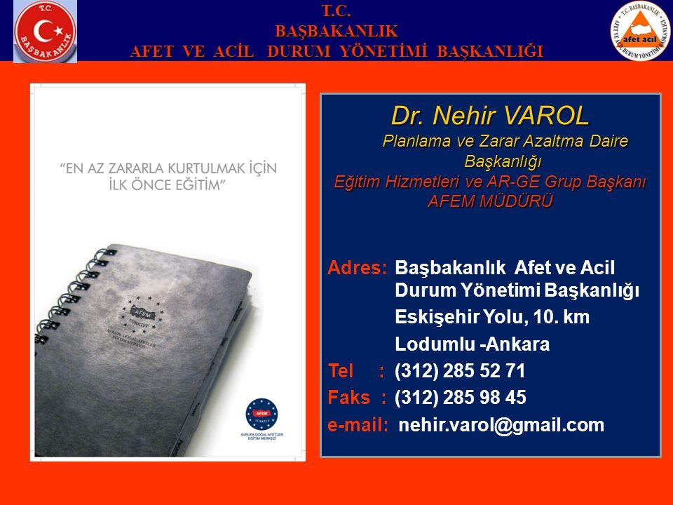 Dr. Nehir VAROL Planlama ve Zarar Azaltma Daire Başkanlığı