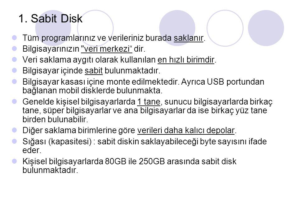 1. Sabit Disk Tüm programlarınız ve verileriniz burada saklanır.