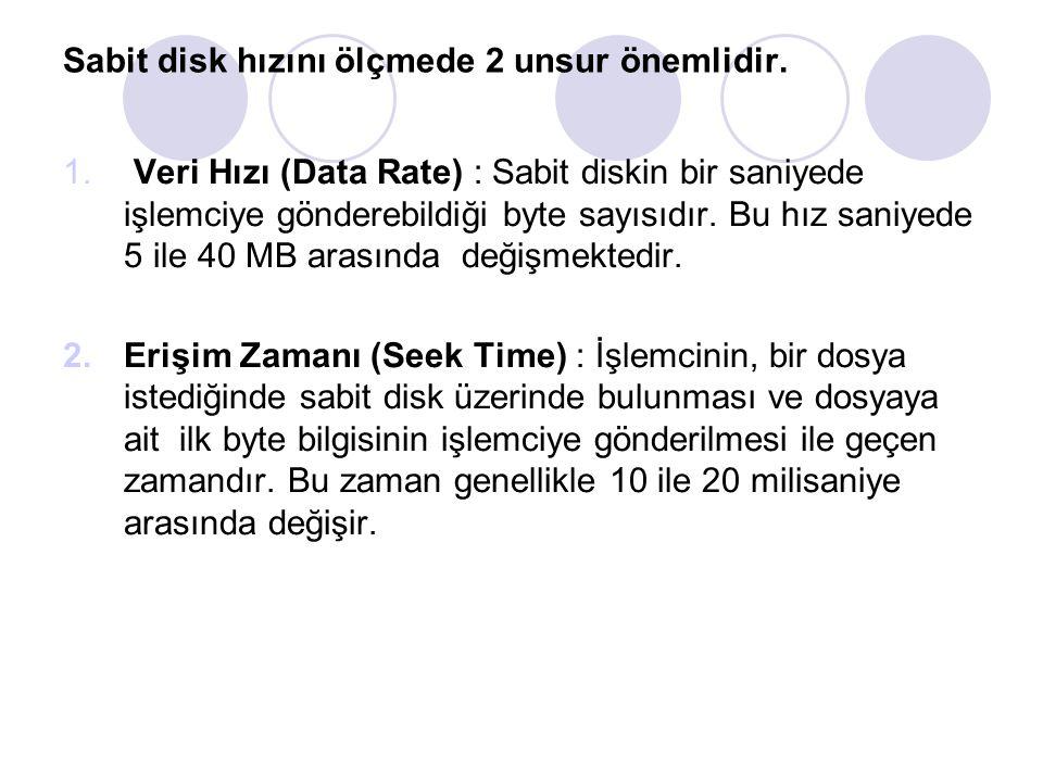 Sabit disk hızını ölçmede 2 unsur önemlidir.