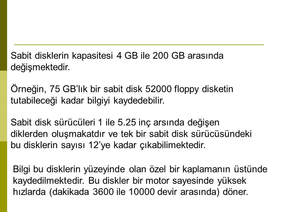 Sabit disklerin kapasitesi 4 GB ile 200 GB arasında değişmektedir.