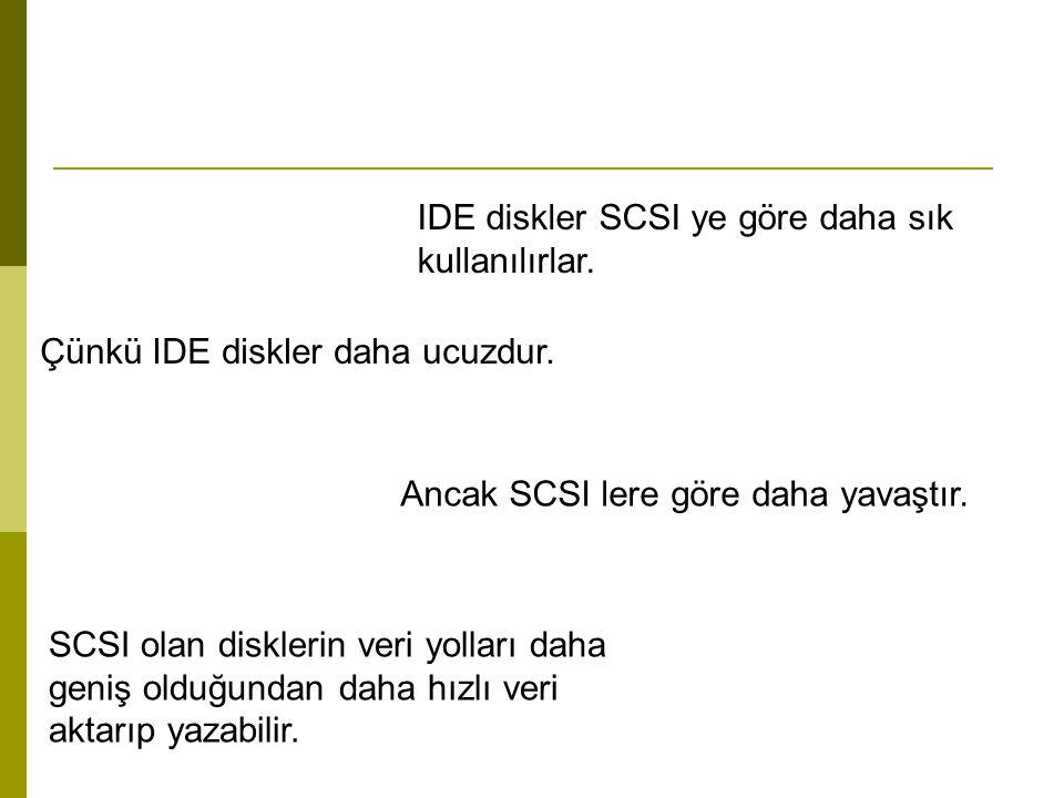 IDE diskler SCSI ye göre daha sık kullanılırlar.
