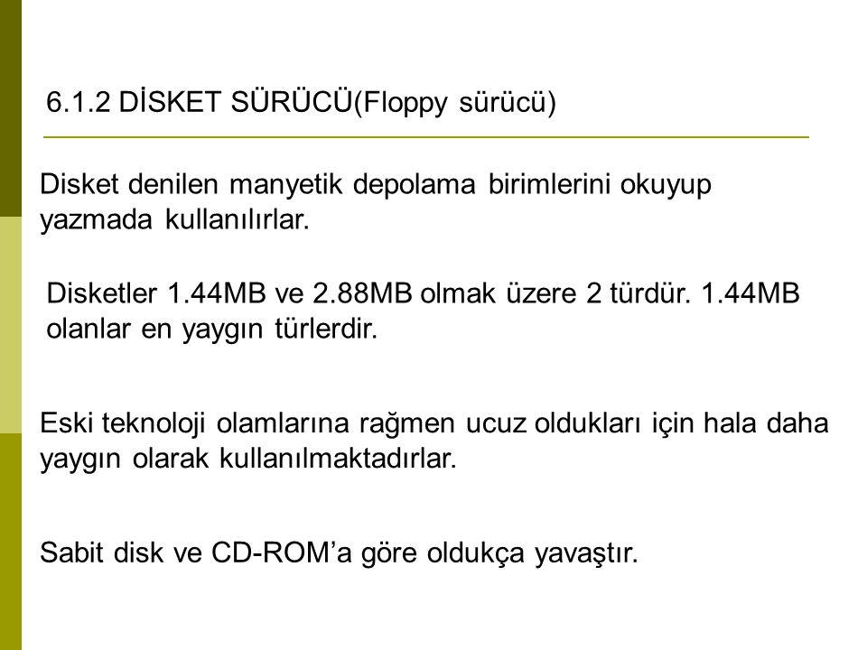 6.1.2 DİSKET SÜRÜCÜ(Floppy sürücü)