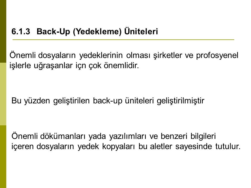 6.1.3 Back-Up (Yedekleme) Üniteleri