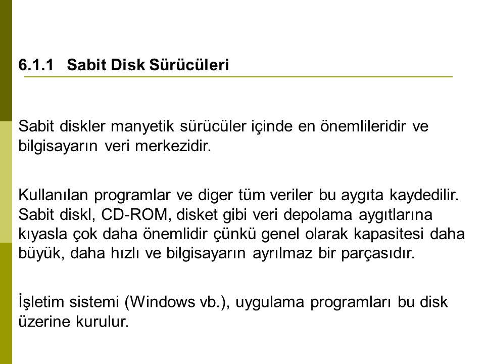 6.1.1 Sabit Disk Sürücüleri Sabit diskler manyetik sürücüler içinde en önemlileridir ve bilgisayarın veri merkezidir.