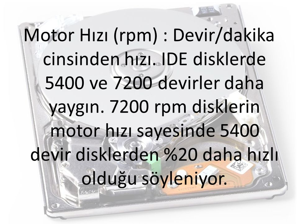 Motor Hızı (rpm) : Devir/dakika cinsinden hızı