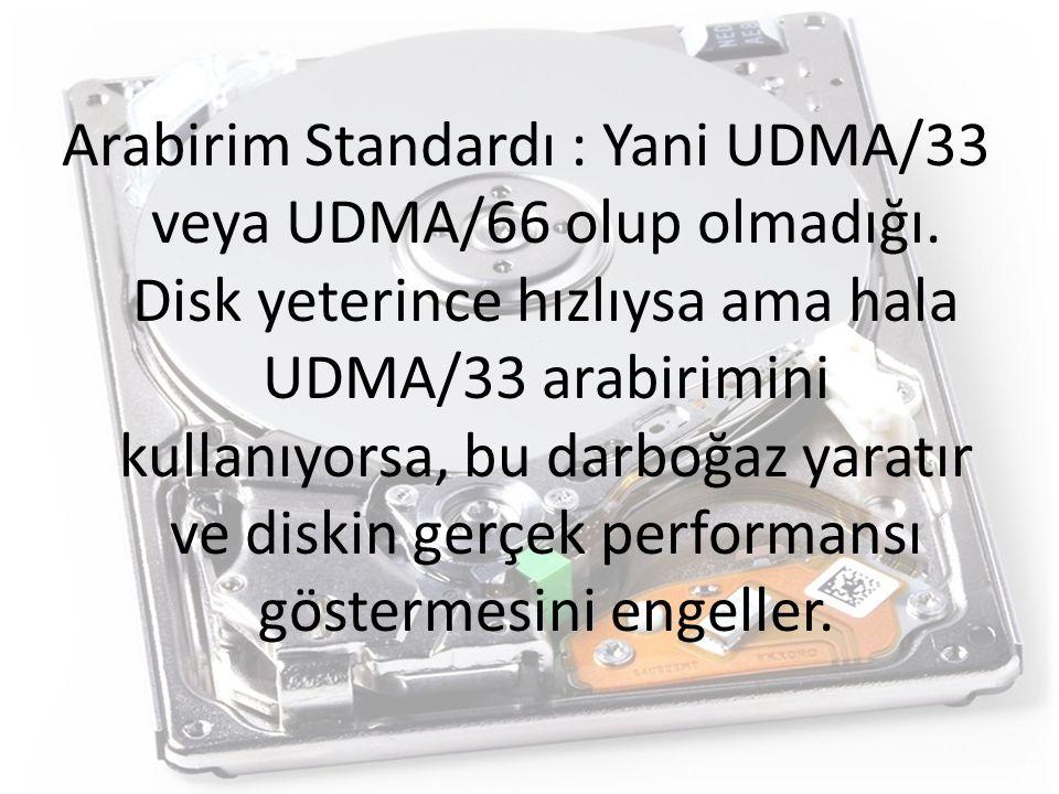 Arabirim Standardı : Yani UDMA/33 veya UDMA/66 olup olmadığı