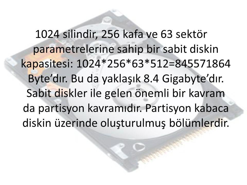 1024 silindir, 256 kafa ve 63 sektör parametrelerine sahip bir sabit diskin kapasitesi: 1024*256*63*512=845571864 Byte'dır.