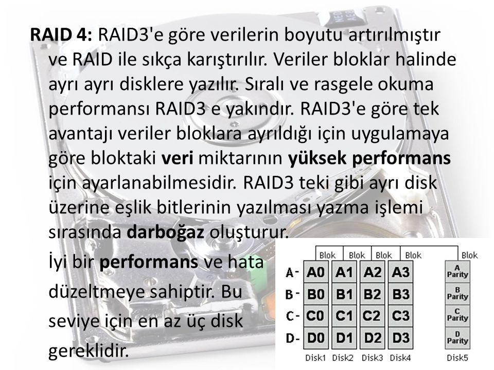 RAID 4: RAID3 e göre verilerin boyutu artırılmıştır ve RAID ile sıkça karıştırılır.
