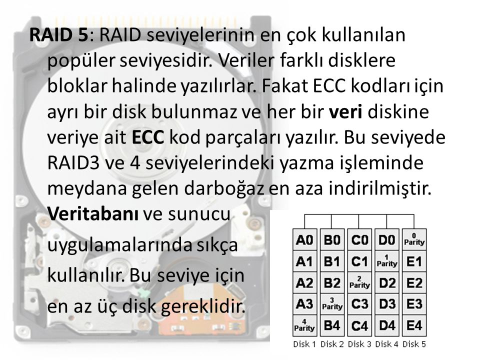 RAID 5: RAID seviyelerinin en çok kullanılan popüler seviyesidir