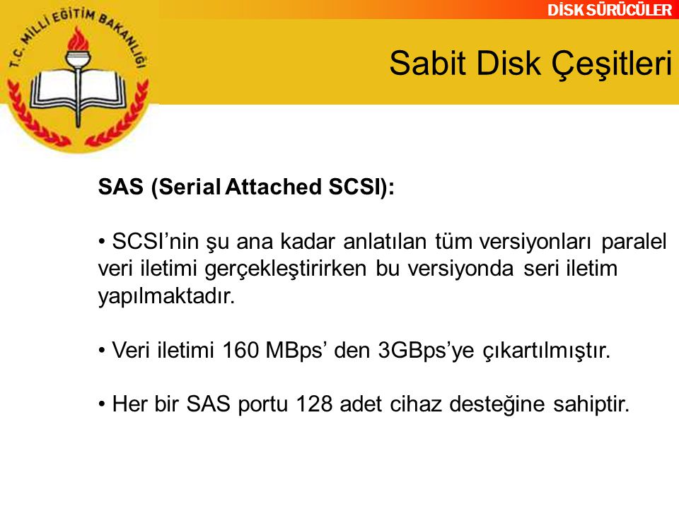 Sabit Disk Çeşitleri SAS (Serial Attached SCSI):