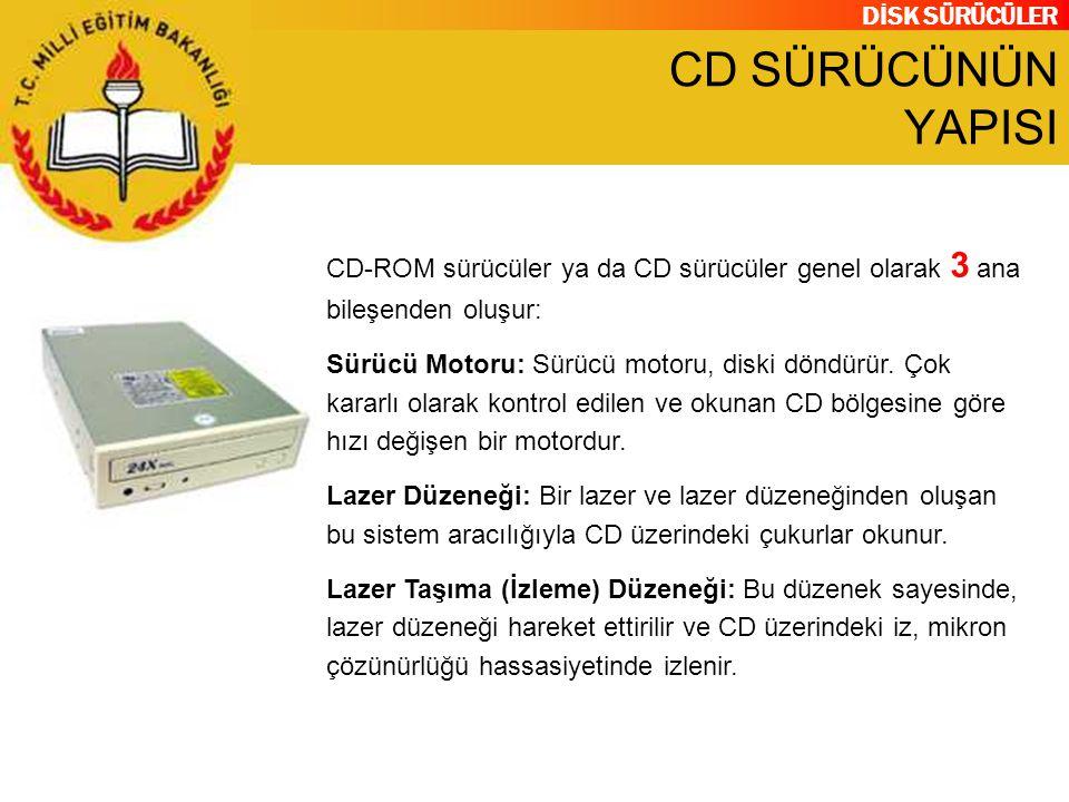 CD SÜRÜCÜNÜN YAPISI CD-ROM sürücüler ya da CD sürücüler genel olarak 3 ana bileşenden oluşur: