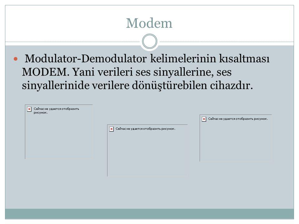 Modem Modulator-Demodulator kelimelerinin kısaltması MODEM.