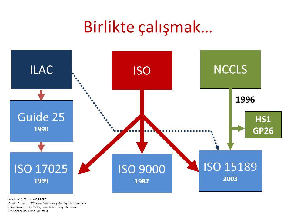 Birlikte çalışmak… ILAC NCCLS ISO Guide 25 ISO 15189 ISO 17025