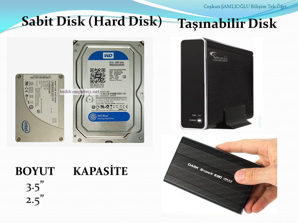Sabit Disk (Hard Disk) Taşınabilir Disk BOYUT 3.5 2.5 KAPASİTE