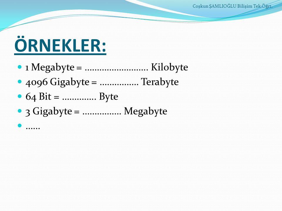 ÖRNEKLER: 1 Megabyte = …………………….. Kilobyte