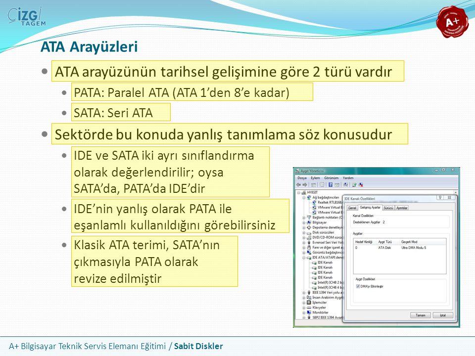 ATA Arayüzleri ATA arayüzünün tarihsel gelişimine göre 2 türü vardır