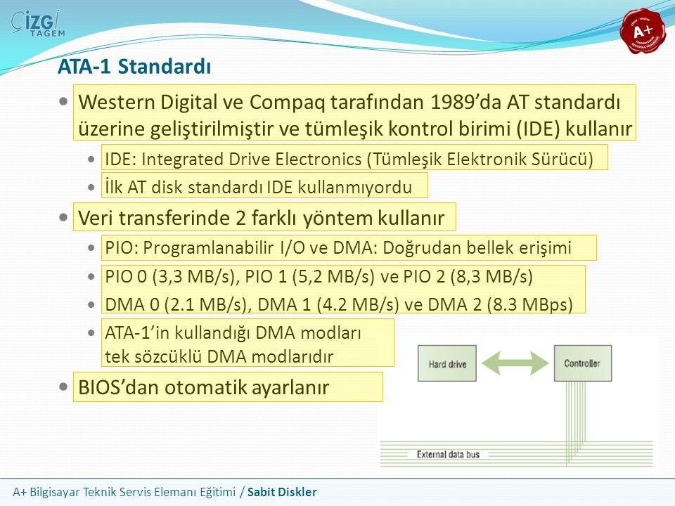 ATA-1 Standardı Western Digital ve Compaq tarafından 1989'da AT standardı üzerine geliştirilmiştir ve tümleşik kontrol birimi (IDE) kullanır.