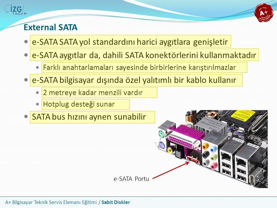 External SATA e-SATA SATA yol standardını harici aygıtlara genişletir