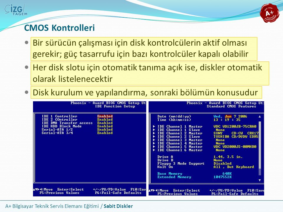 CMOS Kontrolleri Bir sürücün çalışması için disk kontrolcülerin aktif olması gerekir; güç tasarrufu için bazı kontrolcüler kapalı olabilir.