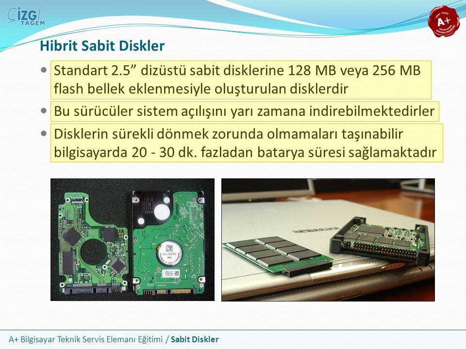 Hibrit Sabit Diskler Standart 2.5 dizüstü sabit disklerine 128 MB veya 256 MB flash bellek eklenmesiyle oluşturulan disklerdir.