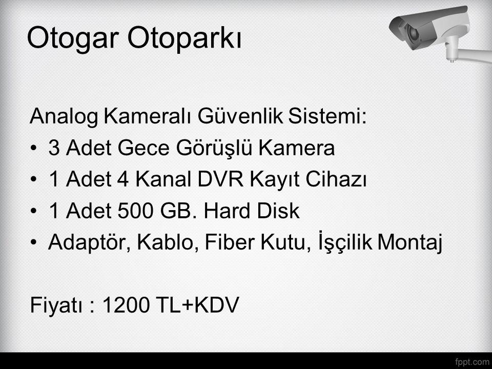 Otogar Otoparkı Analog Kameralı Güvenlik Sistemi: