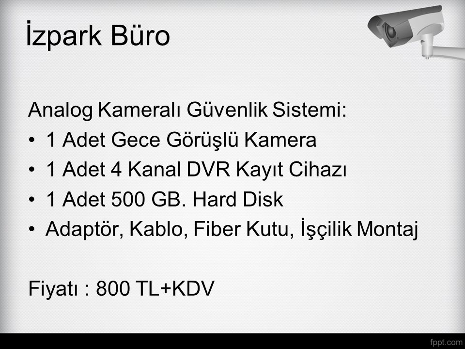 İzpark Büro Analog Kameralı Güvenlik Sistemi: