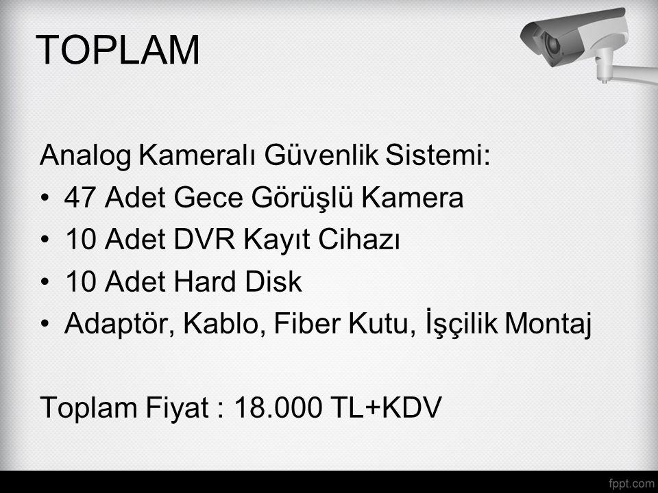 TOPLAM Analog Kameralı Güvenlik Sistemi: 47 Adet Gece Görüşlü Kamera