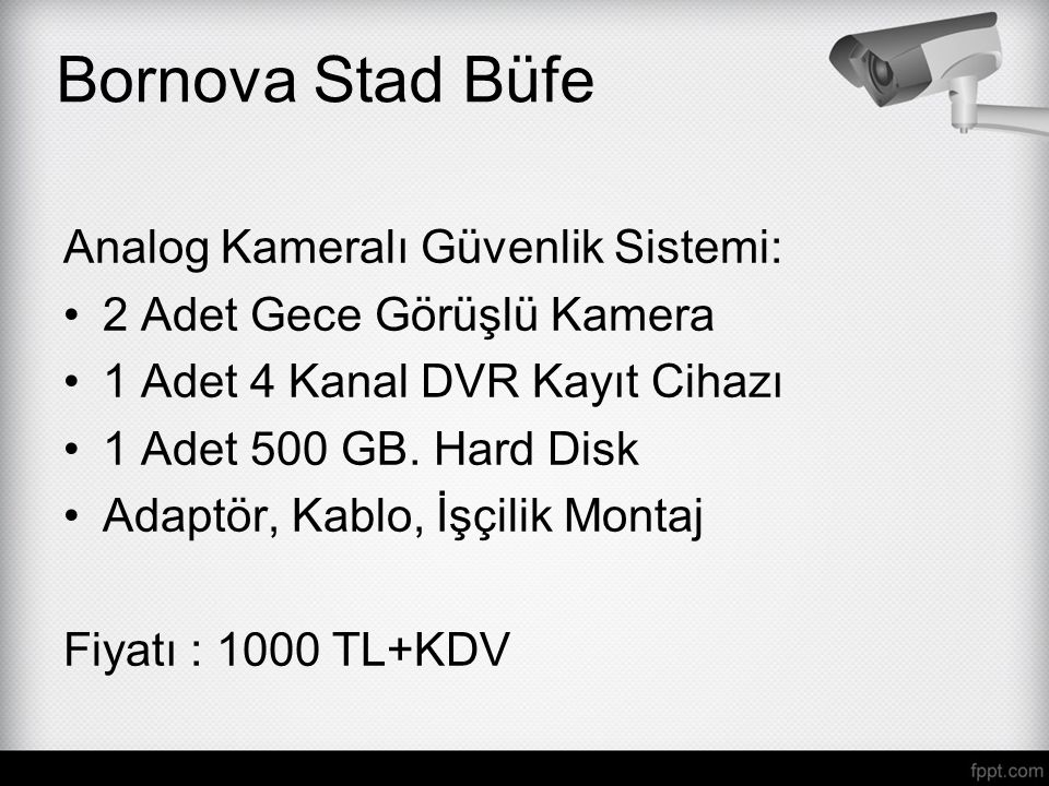 Bornova Stad Büfe Analog Kameralı Güvenlik Sistemi: